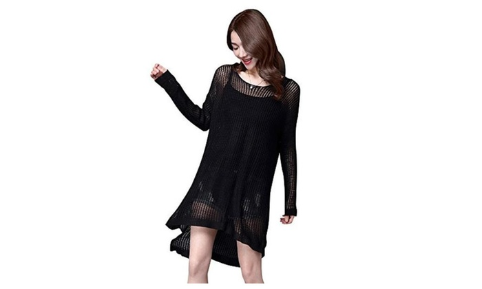 Womens Knitwear See Through Crochet Pullover Swimsuit Cover Dresses