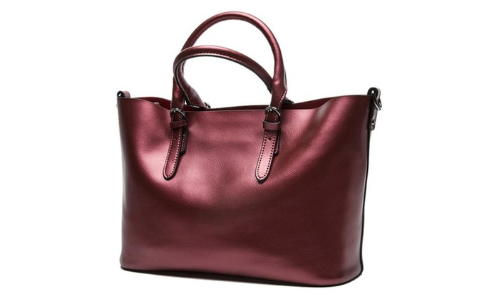 Women's Large Capacity Leather Work Tote Shoulder Bag