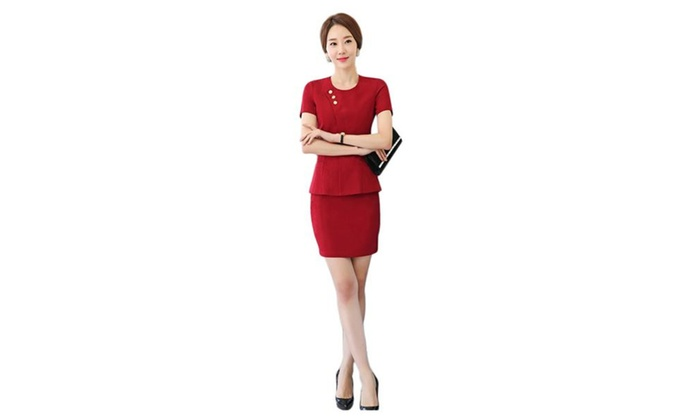 Chickle: Womens Fitted Blazer and Skirt Suit Set