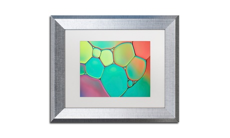Cora Niele 'Stained Glass III' Matted Silver Framed Art 7057fbec-361e-4037-9603-1caad185c53b