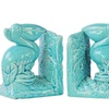 Ceramic Pelican Bird on Base Bookend Assortment of Two Gloss Finish