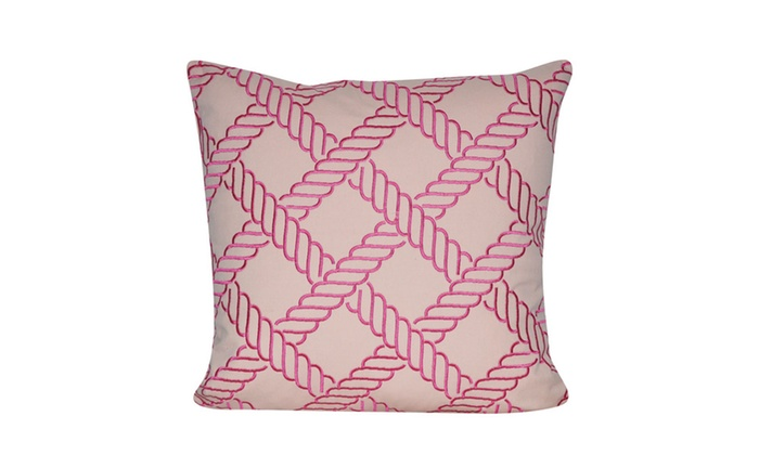 "Groupon Goods: Loom and Mill P0572-1818P - 18""X18"" Pink Ropes Decorative Pillow"