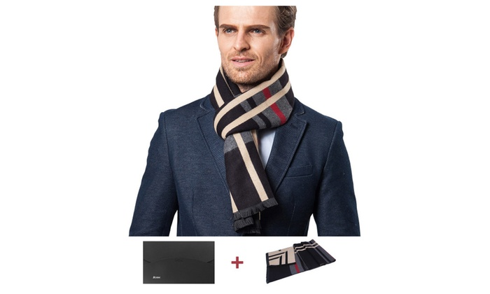 Men's business scarf walf and soft for a gift  – Black