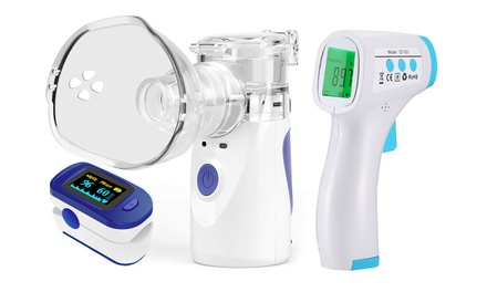 Infrared Forehead Thermometer and Fingertip Pulse Oximeter and Handheld Nebulizer Was: $143.99 Now: $32.99.
