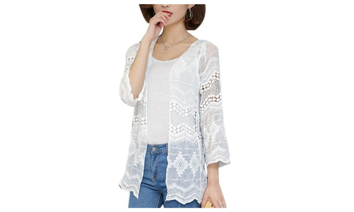 Women's Open Front Loose Fit Long sleeve Cardigan Sweater – White / One Size