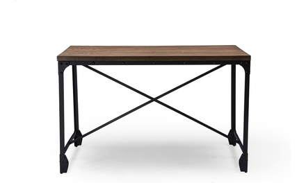 Greyson Vintage Industrial Home Office Wood and Bronze Desk