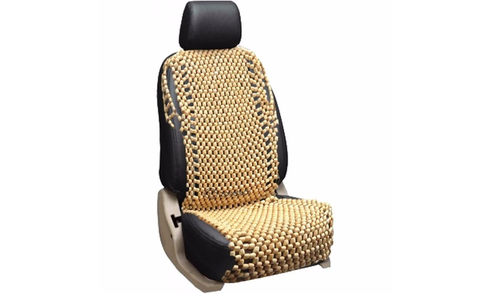 Zone Tech Natural Wooden Beaded Car Seat Chair Cover Massage Cushion
