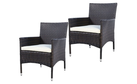 2PCS Outdoor Patio Rattan Wicker Dining Chairs Seat Cushions W/Cover b68c4bec-10ff-44e5-b2a2-5b4a2d4e52e4