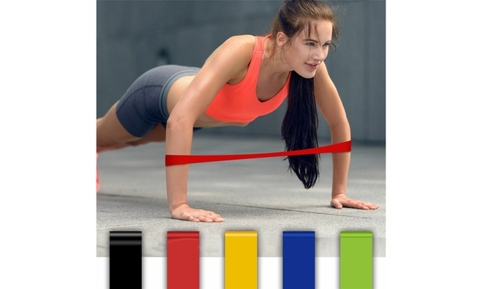 Exercise Bands Resistance Set Fitness Workout Stretch Elastic Loop Legs Therapy