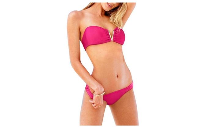 Women's Sexy V-ring 2 Piece Low Cut Bathing Suit Bikini Sets