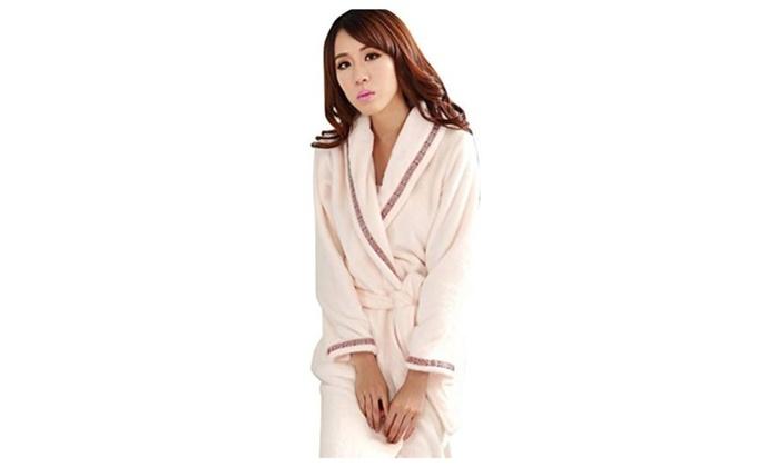 Womens Long Couples Robe Soft Bathrobe Thermal Pajamas