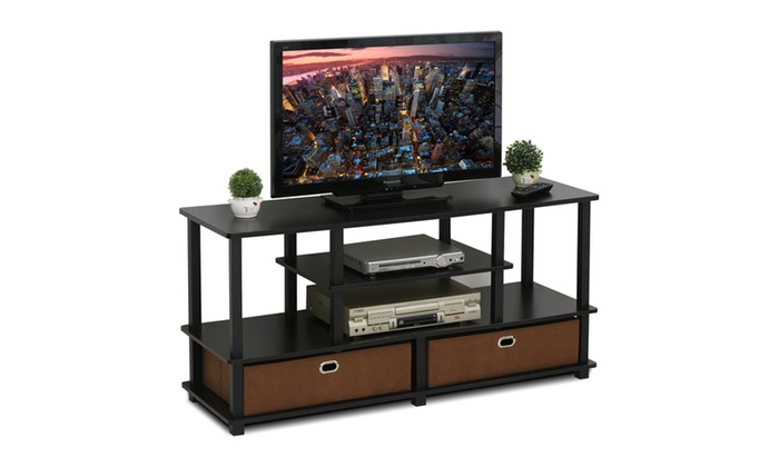 Furinno Jaya Large Tv Stand For Up To 50 Inch Tv With Storage Bin