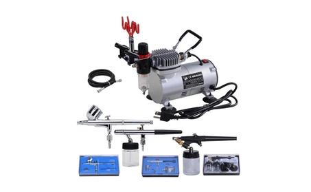 3 Airbrush & Compressor Kit Single Dual-Action Spray Air Brush Set a92af3ab-b584-4e33-af06-374b4ffaf1c2