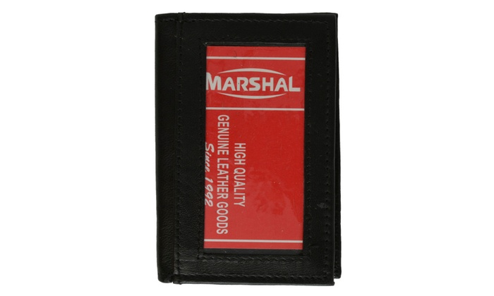 Lambskin Soft Leather Credit Card Holder with ID window for Men