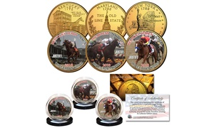 JUSTIFY Triple Crown Winner Race Horse 3-Coin Set 24K Gold Plated State Quarters