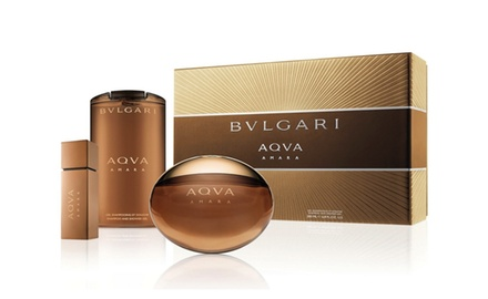 BVLGARI Aqva Amara 3.4 oz +0.5 oz Spay Eau De Parfum 6.8 oz Shampoo and Shower Gel Gift Set