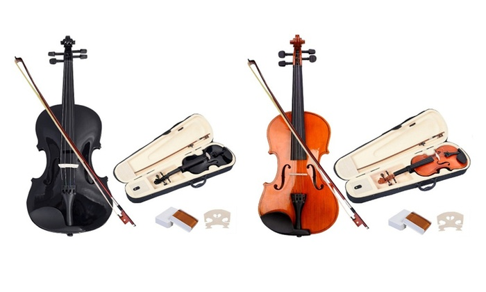 New Full Size 4/4 Natural Acoustic Violin Fiddle with Case Bow Skripka