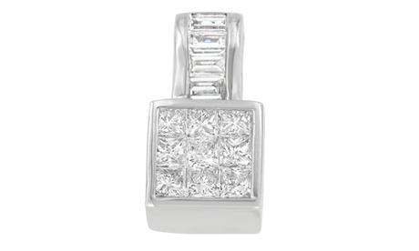 14K White Gold 1 1/2 CTTW Diamond Square Halo Pendant Necklace(H-I,SI1-SI2) a1b39671-099b-4c72-938e-14f286d16dd6