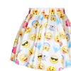 Women's Flared Stretch Soft Pleated Emoji Skater Mini Skirt