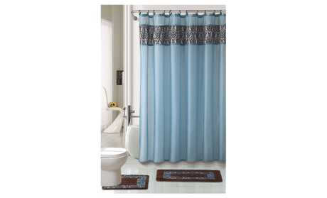 image for WPM 4 Piece Bath Rug Set with Shower Curtain