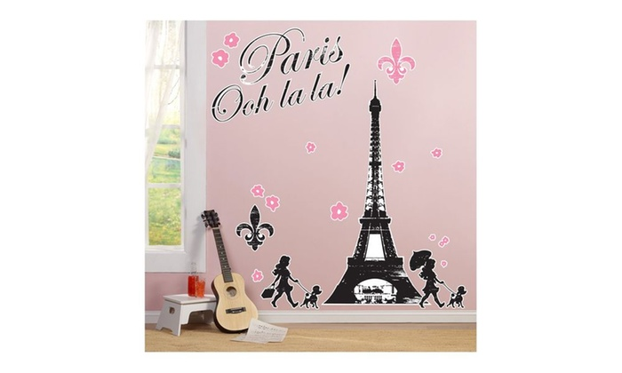 Paris damask giant wall decals groupon for 8 sheet giant wall mural