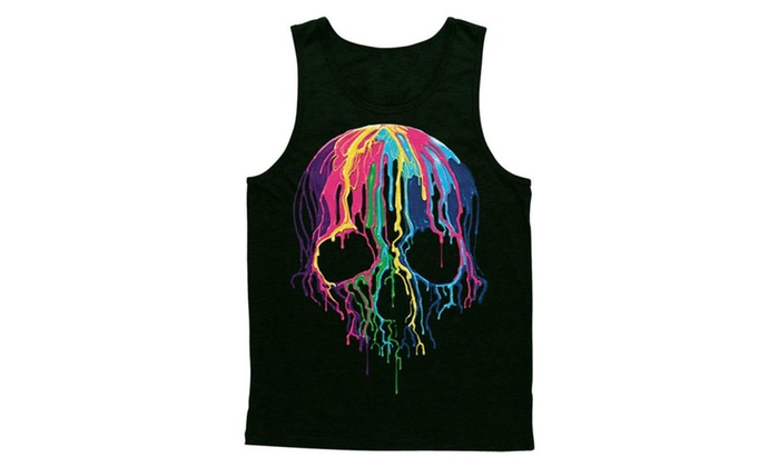Blittzen Mens Tank Top Melting Skull