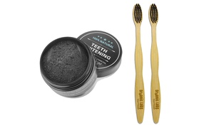 Charcoal Coconut Teeth Whitening Powder & 2 Bamboo Brushes