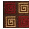 Antibacterial Square Swirl Brown Skid Resistant Runner Rug 2'x7' Rugs