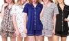 Doublju Women's Short Sleeve Button Down Pajama Sleepwear (2 pcs Set)