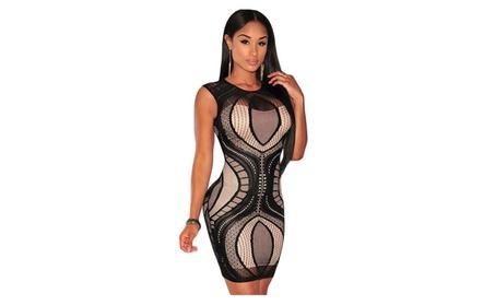 Women's Black Optical Lace Nude Illusion Sleeveless Bodycon Dress 341e033e-473c-4f2c-8e5a-12450ad45d7b