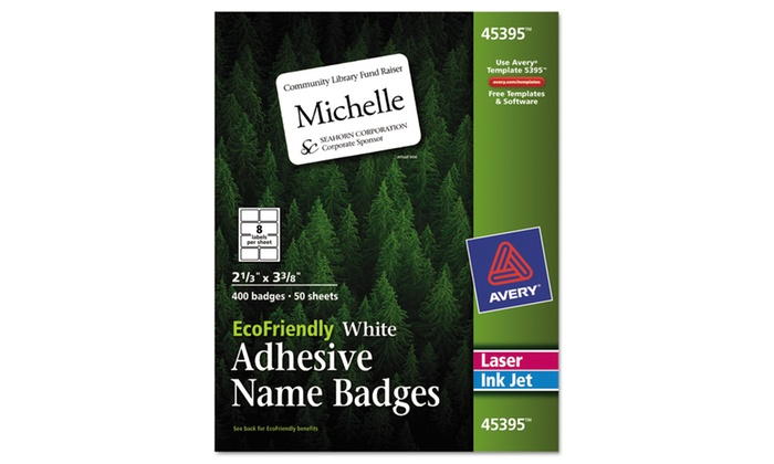 avery dennison ecofriendly adhesive name badge labels 2 1 3 x 3 3 8