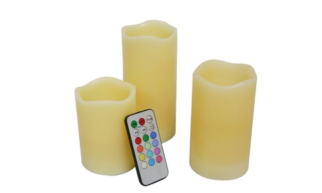 Real Wax Flameless Candles with Remote Set (3-Piece)