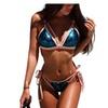 Low Waist Blue Sequins Bikini Halter Bandage Swimsuit  Bling Bikinis