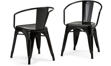 Metal Dining Arm Chair (Set of 2) in Black , Fully Assembled