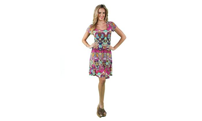 24/7 Comfort Apparel Women's Bright Bohemian A-line Dress