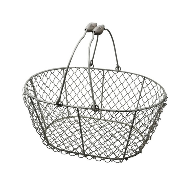 FOR GATHERING EGGS ...POULTRY...Oval...White.. WIRE CHICKEN EGG BASKET..