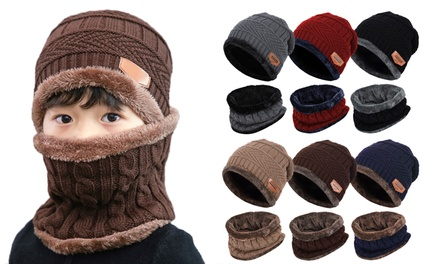 2Pcs Kids Winter Knitted Hats Scarf Set Warm Fleece Beanie Cap for Boys Girls