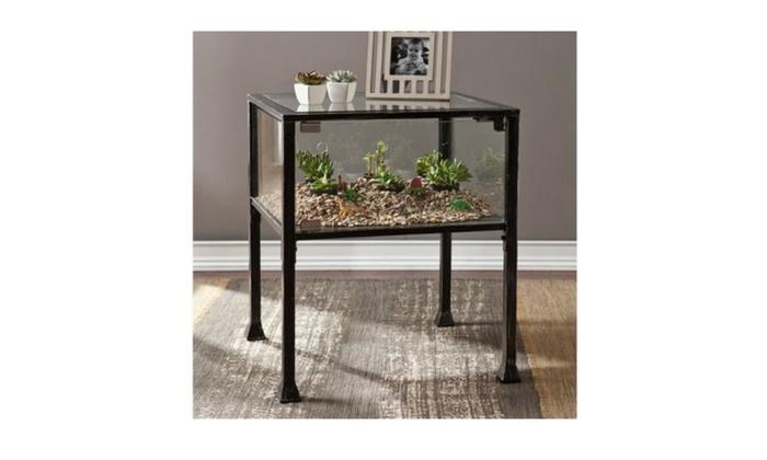 Ordinaire Southern Enterprises Terrarium Glass Display End Table In Black