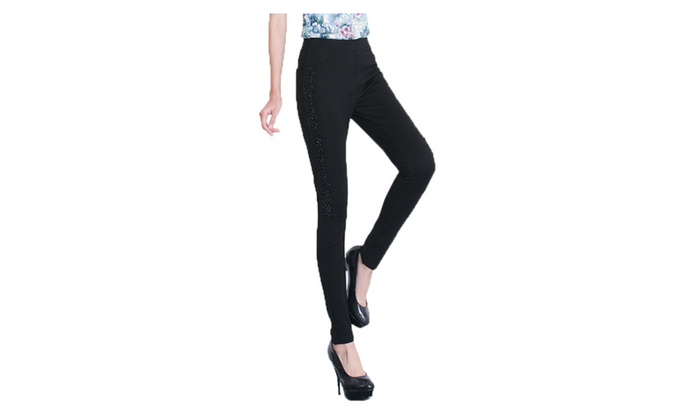 Women's Fashion Long Solid Straight Slim Fit Trousers