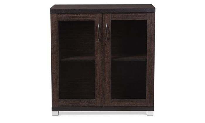 Beau Zentra Dark Brown Sideboard Storage Cabinet With Glass Doors ...