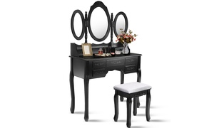 White/Black Tri Folding Oval Mirror Wood Vanity Makeup Table Set