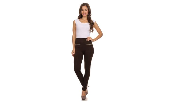Sakkas Mae Warm Soft  Fleece Linned Slim Legging With Front Pocket Zip