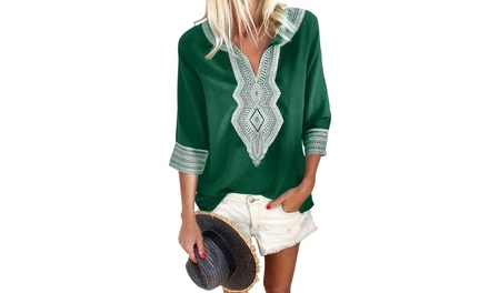 Women's Black/Red/Blue/Green Summer Boho Embroidered V Neck Loose Blouse Was: $67.97 Now: $14.99.