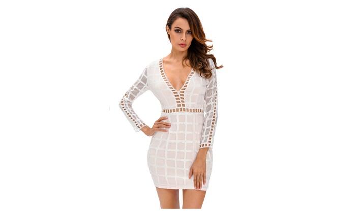Women's White Lace Nude Long Sleeves Mini Dress