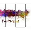 Portland Skyline - Cityscape Glossy Metal Wall Art