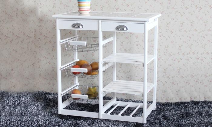 Kitchen Island Cart Rolling Cupboard Table Storage Rack