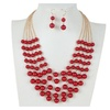 Gold Plate Chain 5 Layer Imitate Plastic Pearls Necklace
