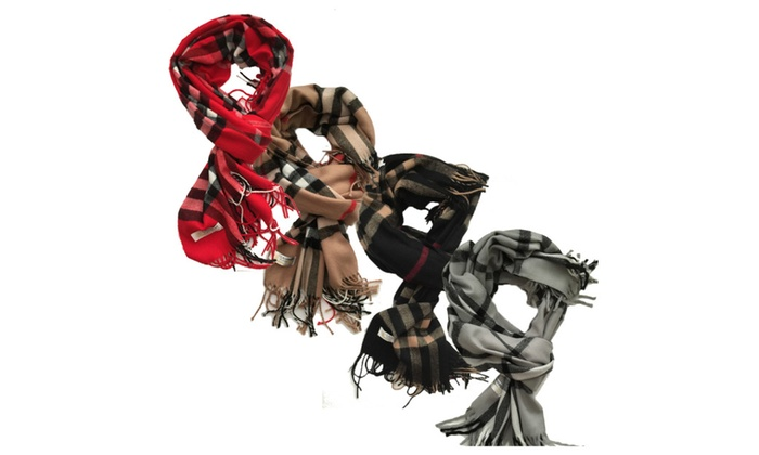Women's Cashmere-Wool Blend Shawl Scarf with Fringed Edges-Large