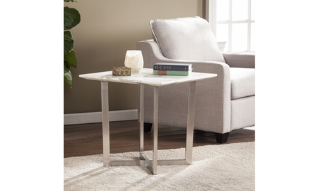 Wrexham Faux Marble End Table - Soft Ivory w/ Gray 332fd570-5090-4c37-9944-dffdec458f48