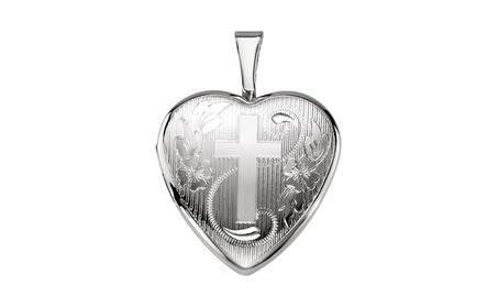 Sterling Silver Heart Locket with Cross 3004c70f-1aa1-4e75-9f7a-2ffe1fd6115f